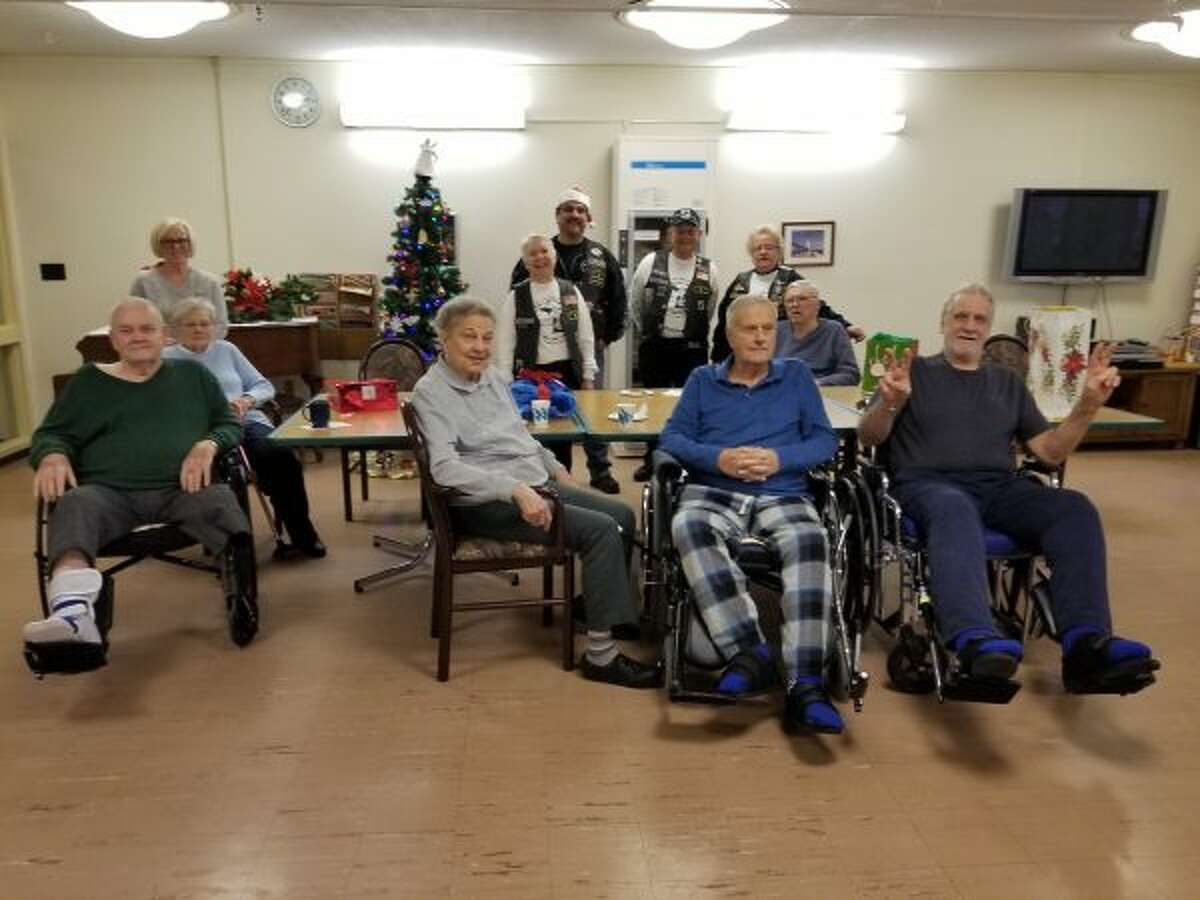Members of Rolling Thunder held a Christmas party at Green Acres in Manistee last week for veterans. (Courtesy photo)