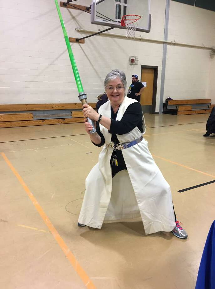 Andrea Boissevain, Director of Health for Stratford Health Department, gets into character at last years Star Wars themed flu clinic. Themed clinics have been a fun and interactive way to engage children and families while getting their flu vaccine. Photo: /