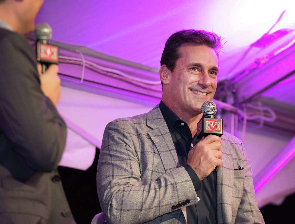 """Actor Jon Hamm was the honored guest at the Mark Twain Library's Pudd'nhead gala on Saturday, Sept. 28, 2019 in Redding, Connecticut. 2019: Jon Hamm """"Mad Men"""" star Hamm was honored in 2019. Hamm is most known for his dramatic role as Don Draper, but has also had comedy roles such as in the Netflix show """"Unbreakable Kimmy Schmidt"""" and multiple appearances on SNL."""