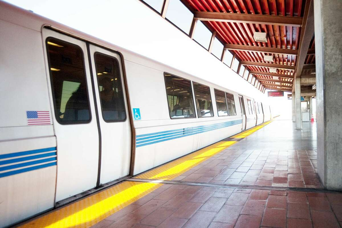 BART train arrives at station