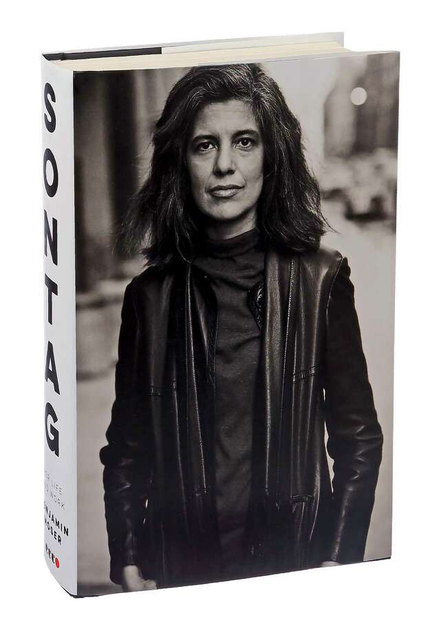 "The cover and spine of Benjamin Moser's new biography of Susan Sontag, ""Sontag: Her Life and Work,"" in New York, Aug. 24, 2019. The book explores the person beneath the public persona of the formidable 20th-century public intellectual, essayist, novelist and political activist. (Sonny Figueroa/The New York Times) Photo: SONNY FIGUEROA, STF / NYT / NYTNS"