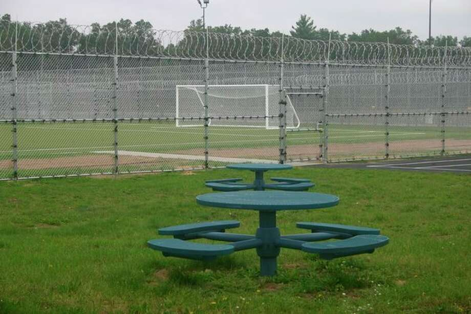 The North Lake Correctional facility which opened on Tuesday, oct. 1 includes an outdoor recreation area with basketball courts and a soccer field, along with seating areas. (Star photo/Cathie Crew)