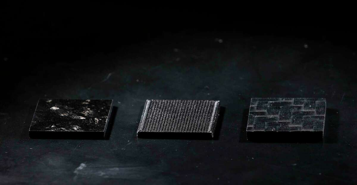 A team from Houston Methodist Research Institute is working with Lamborghini to test carbon fiber samples in low-Earth orbit environmental conditions. Samples of carbon fiber were photographed at Houston Methodist Research Institute.