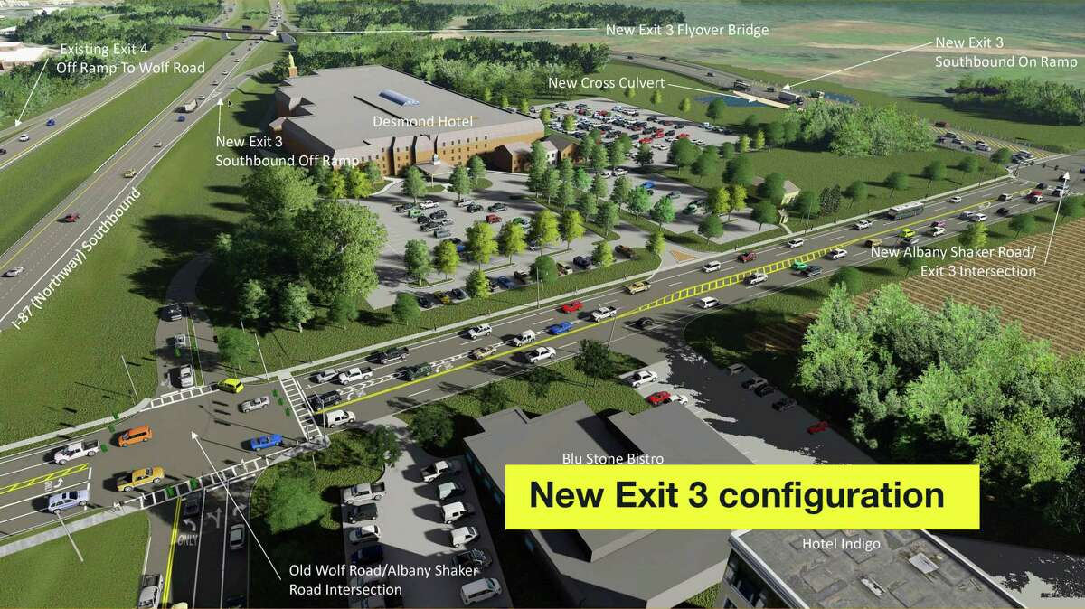 The Northway Exit 3 project as shown in an aerial architectural rendering. The Exit 4 southbound on-ramp to the northway on Albany Shaker Road is now closed. That road will be the entrance to The Desmond. Motorists can enter I-87 southbound via the Exit 3 on-ramp now open on Albany Shaker Road west of the Desmond in the upper right corner of this rendering.