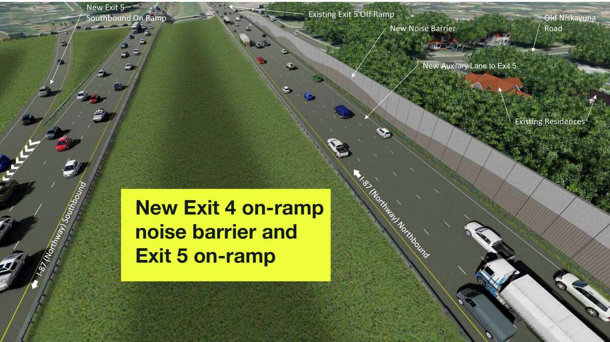 The Exit 4 on-ramp off Albany Shaker Road and Wolf Road now extends to Exit 5 and a noise barrier is being constructed. On the southbound northway, a new Exit 5 on-ramp will provide entry to I-87 before the Albany Shaker Road overpass. Motorists going southbound will take Exit 3 for Albany Shaker Road and the Albany International Airport.