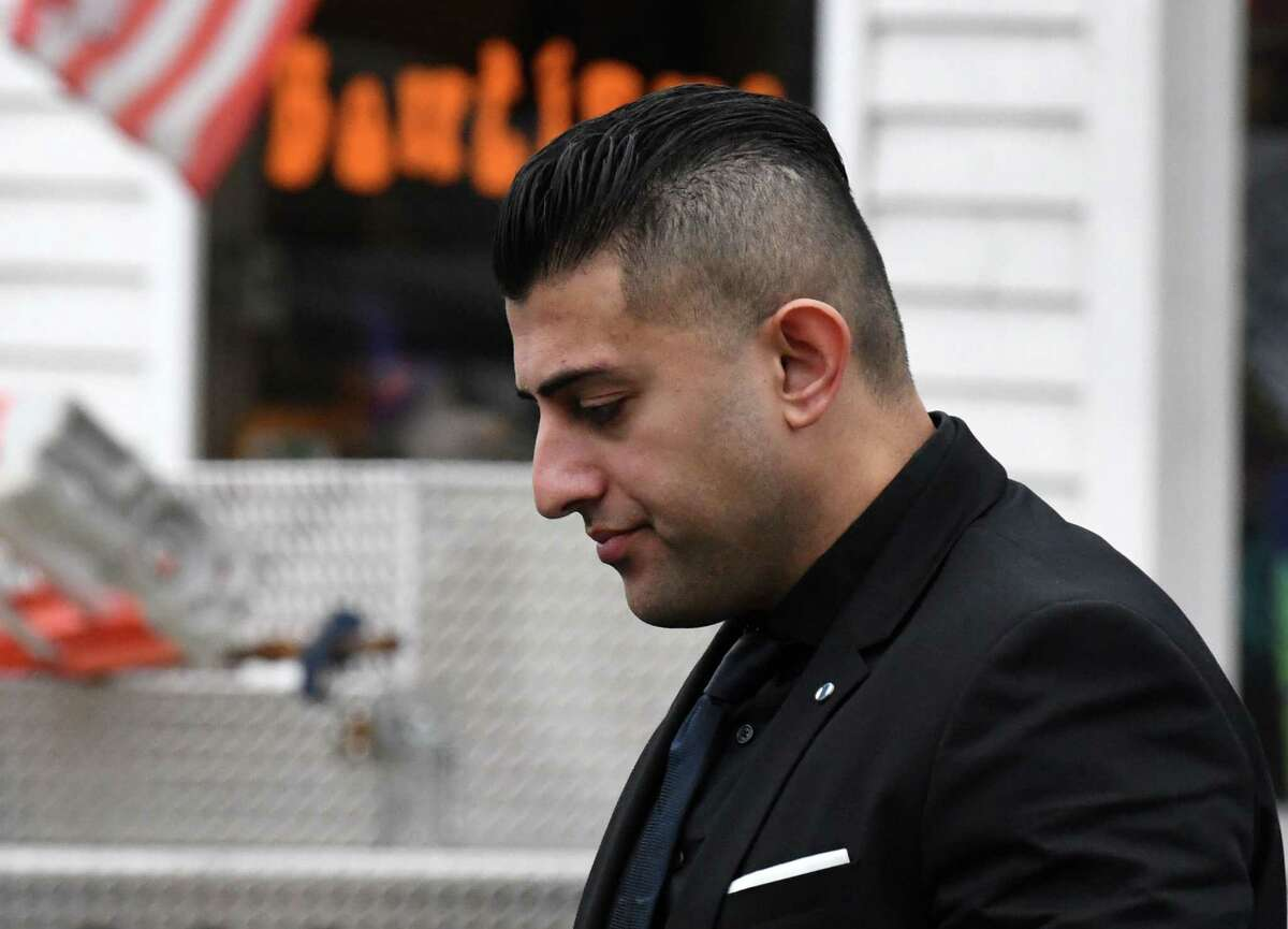 Nauman Hussain, the operator of the limousine company that owned the stretch limo that crashed in Schoharie on Oct. 6, 2018, killing 20 people, enters Schoharie County Court for an appearance on Wednesday, Oct. 2, 2019, in Schoharie, N.Y. (Will Waldron/Times Union)
