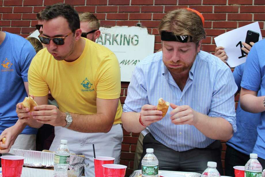 The Make Hot Dogs Great Again hot dog eating contest in New Canaan Saturday, June 22, brought together people from across the country to eat hot dogs, help a friend and raise money for Leader Dogs for the Blind. Photo: John Kovach / Hearst Connecticut Media / Connecticut Post