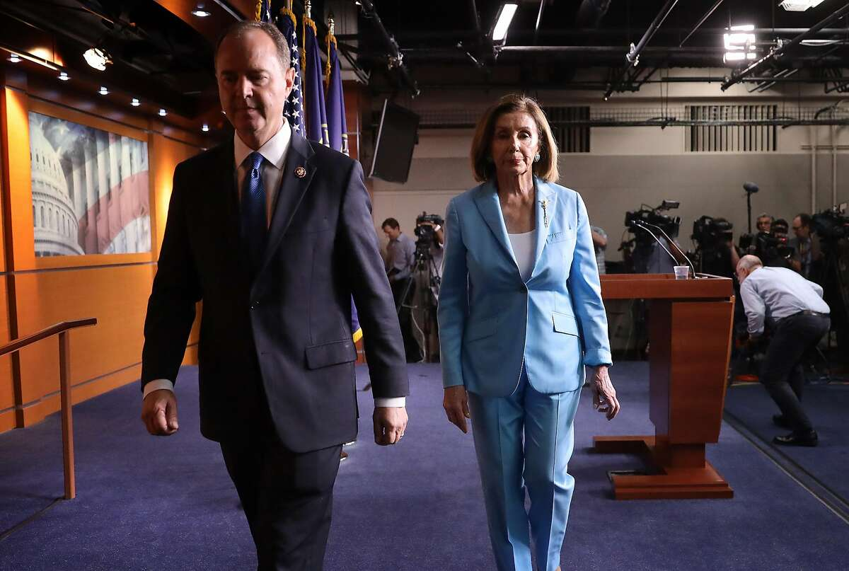 Speaker of the House Nancy Pelosi (D-CA) and House Select Committee on Intelligence Chairman Rep. Adam Shiff (D-CA) depart a press conference at the U.S. Capitol October 2, 2019 in Washington, DC. Pelosi and Schiff updated members of the media on the latest developments related to the impeachment inquiry focused on U.S President Donald Trump. (Photo by Win McNamee/Getty Images)