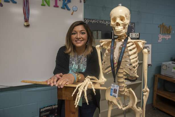 Bernadette Barragan in her classroom with a skeleton on Monday, August 12, 2019 at George H.W. Bush New Tech Odessa.
