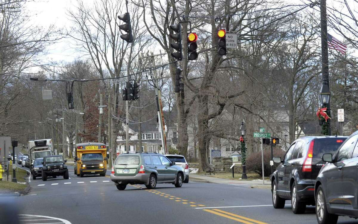 The traffic light on Main and Prospect Streets, right, is quickly followed by a light in at the entrance to the CVS Plaza on Main Street in Ridgefield. Photo Friday, January 27, 2017.