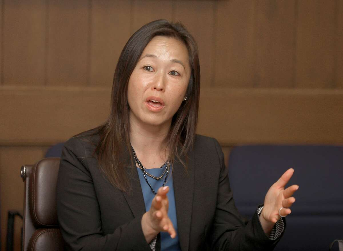 San Francisco Unified Board of Education candidate and present board member Jenny Lam seen speaking at the San Francisco Chronicle on Friday, Sept. 20, 2019 in San Francisco, Calif.