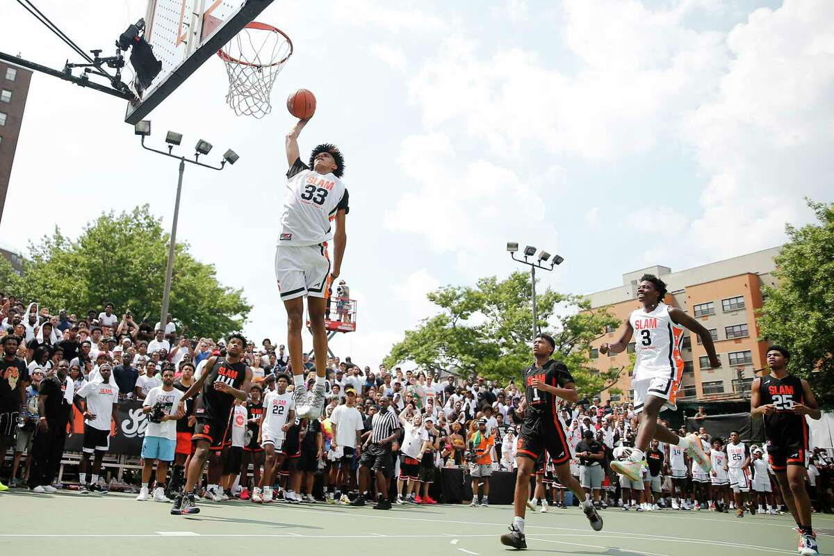 Andre Jackson of Team Jimma dunks against Team Zion during the SLAM Summer Classic 2019 in New York.