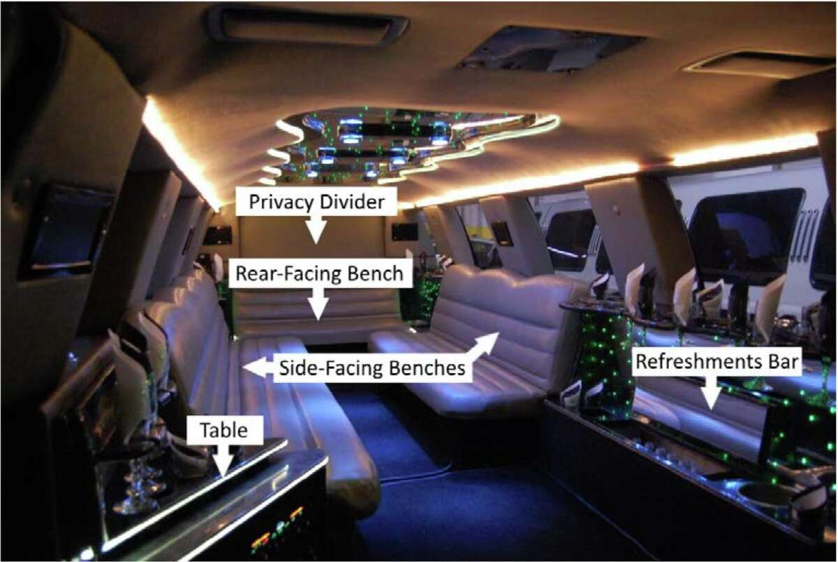 A 2010 photograph of the 2001 Ford Excursion limousine's interior, looking from the rear of the passenger compartment toward the driver's compartment. The view to the driver's compartment is blocked by a white privacy divider. The limousine was owned by Prestige Limousine in Wiliton when it crashed in Schoharie on Oct. 6, 2018, killing 20 people. (Courtesy of the vehicle's previous owner, Advantage Transportation Group)