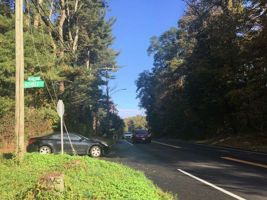 The intersection of Ashbee Lane and Ethan Allen Highway has been the subject of a petition to study the area's sight lines. Photo: Stephen Coulter / Hearst