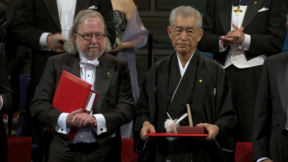 """Jim Allison, left, with Tasuku Honjo, receiving the Nobel Prize for medicine in 2018. Allison is the subject of the documentary """"Jim Allison: Breakthrough."""" Photo: Uncommon Productions/Dada Films / Uncommon Productions/Dada Films"""