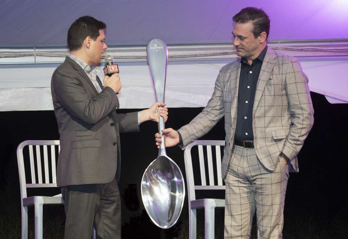Actor Jon Hamm was the honored guest at the Mark Twain Library's Pudd'nhead gala on Saturday, Sept. 28, 2019 in Redding, Connecticut. He is pictured here (right) with comedian Michael Ian Black. Book promotion tours have largely gone virtual this year and Black's is no exception. He is looking forward to