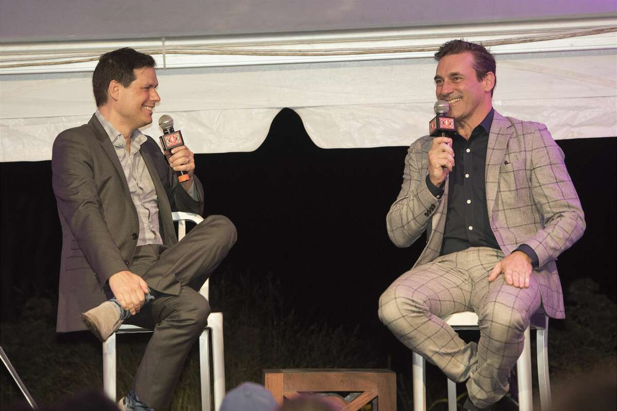 Actor Jon Hamm was the honored guest at the Mark Twain Library's Pudd'nhead gala on Saturday, Sept. 28, 2019 in Redding, Connecticut. He is pictured here (right) with comedian Michael Ian Black.