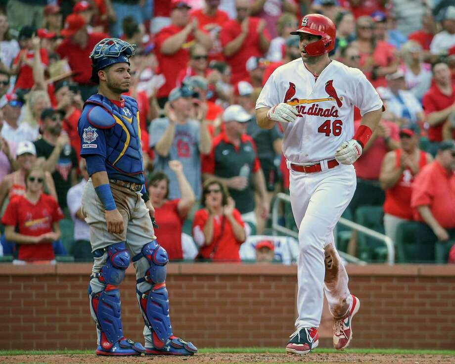 Chicago Cubs catcher Willson Contreras, left, stands nearby as St. Louis Cardinals' Paul Goldschmidt crosses home plate after hitting a solo home run during the fourth inning of a baseball game Sunday, Sept. 29, 2019, in St. Louis. Photo: Scott Kane, FRE / Associated Press / Copyright 2019 The Associated Press. All rights reserved.