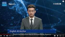 An English-language news anchor - a composite of a live person and artificial intelligence - makes his broadcast debut on the Xinhua News Agency broadcast on Thursday, Nov. 8, 2018. The U.S. is sending mixed messages about providing global leadership around AI, argues author Susan Aaronson.