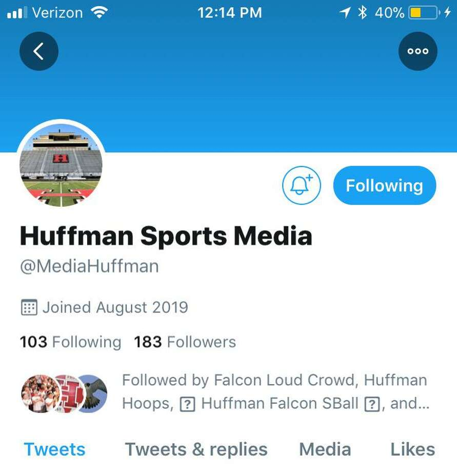 Scott Barrett's Audio Video class at Hargrave High School launched the Huffman Sports Media Twitter account Photo: Huffman Sports Media Twitter, @MediaHuffman