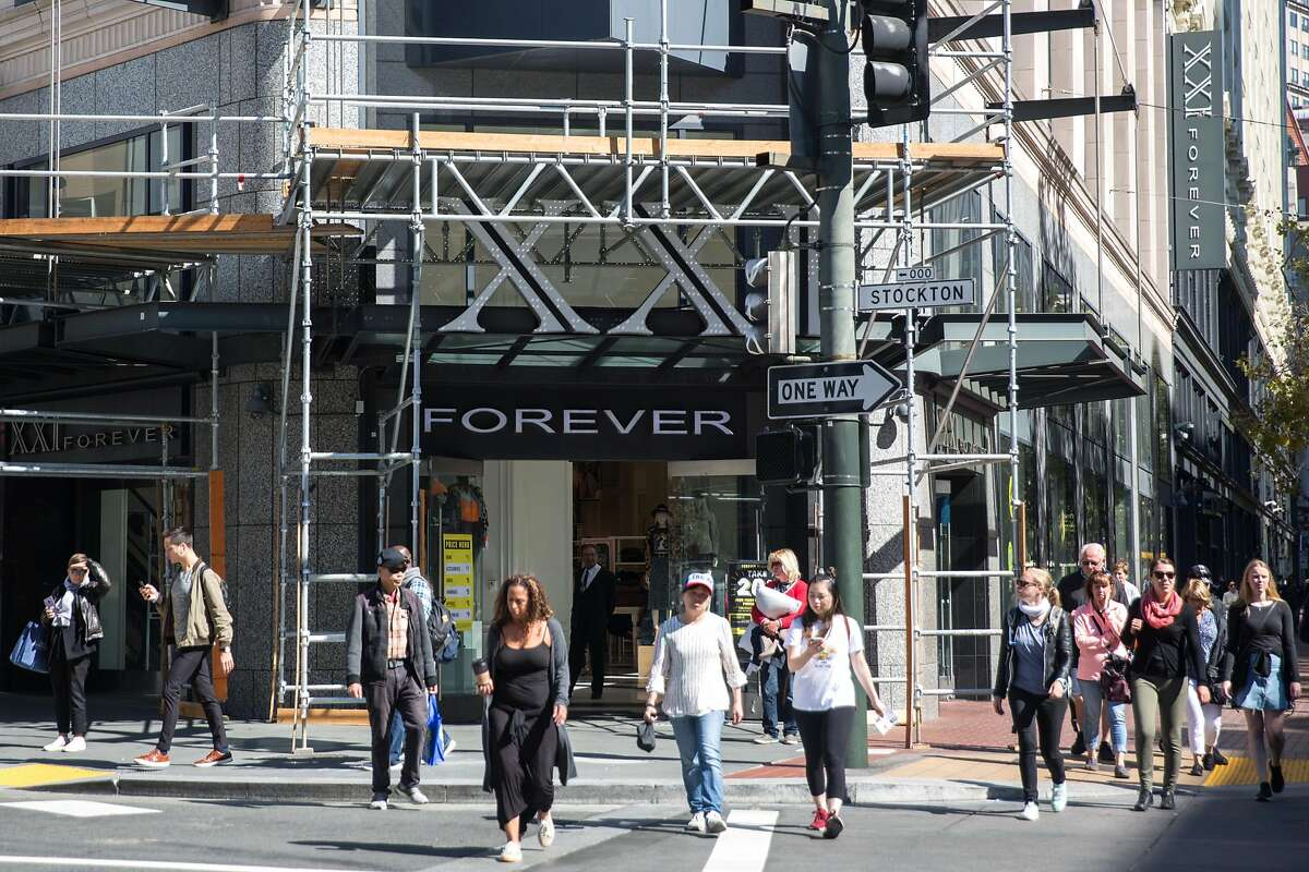 The exterior of Forever 21 store in Union Square that is planning to close this three-story flagship store, along with five other mall stores in the Bay Area. On Tuesday, October 2, 2019. San Francisco, Calif.