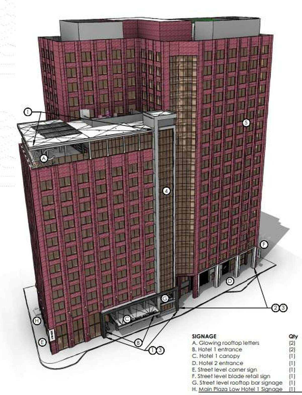 Winston Hotels plans to convert much of the 20-story Riverview Towers building downtown into a dual-branded AC Hotel by Marriott and an Element Hotel by Westin.