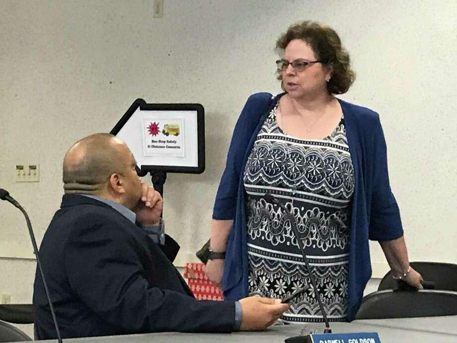 Board of Education President Darnell Goldson with the board's lawyer, Melinda Kaufmann. Photo: Brian Zahn / Hearst Connecticut Media