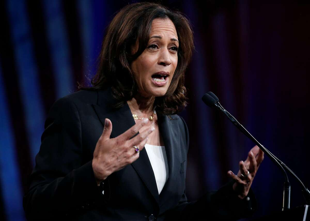 Presidential candidate Sen. Kamala Harris addresses a gathering of the Democratic National Committee summer meeting at the Hilton Hotel in San Francisco, Calif. on Friday, Aug. 23, 2019.