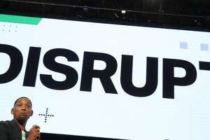 SAN FRANCISCO, CALIFORNIA - OCTOBER 02: Actor Will Smith (L) speaks as director Ang Lee (R) looks on during the TechCrunch Disrupt SF 2019 conference at Moscone Center on October 02, 2019 in San Francisco, California. TechCrunch Disrupt puts the spotlight on revolutionary startups and innovators. The three-day conference features interviews with industry leading entrepreneurs, investors and hackers. TechCrunch Disrupt SF runs through October 4. (Photo by Justin Sullivan/Getty Images)