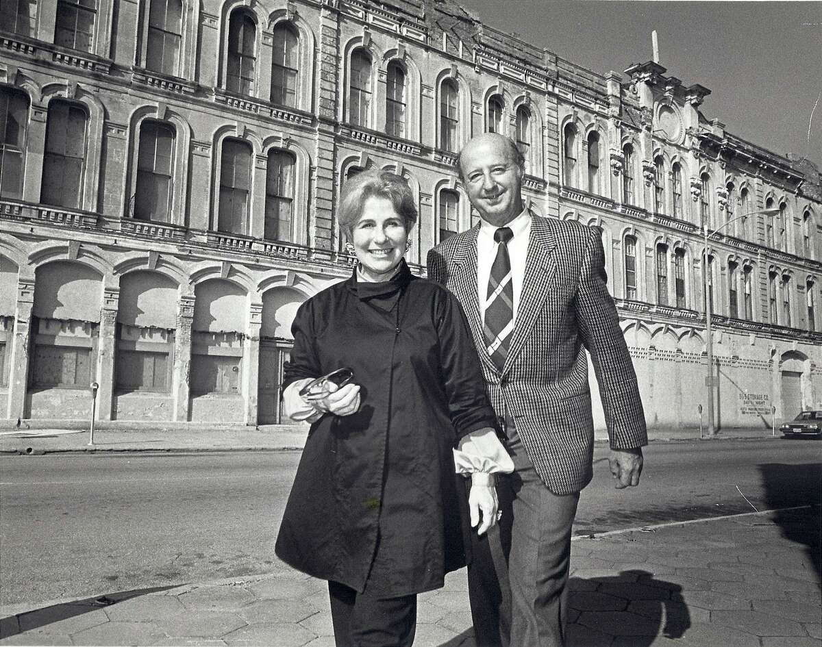 Cynthia and George Mitchell in front of the Tremont House in Galveston.