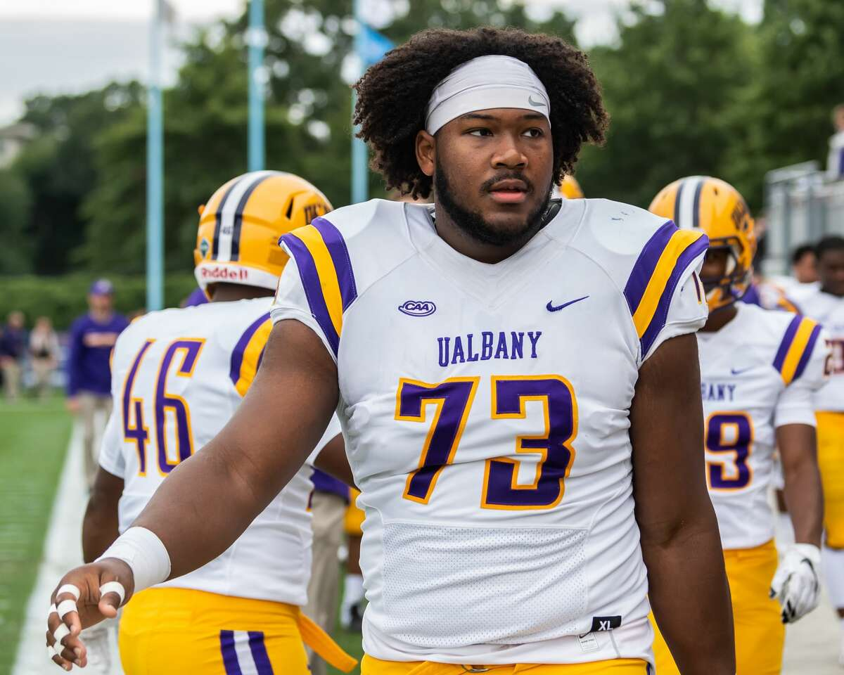 Micah Royster has started at center, guard and tackle during his University at Albany career. (Bill Ziskin/UAlbany athletics)
