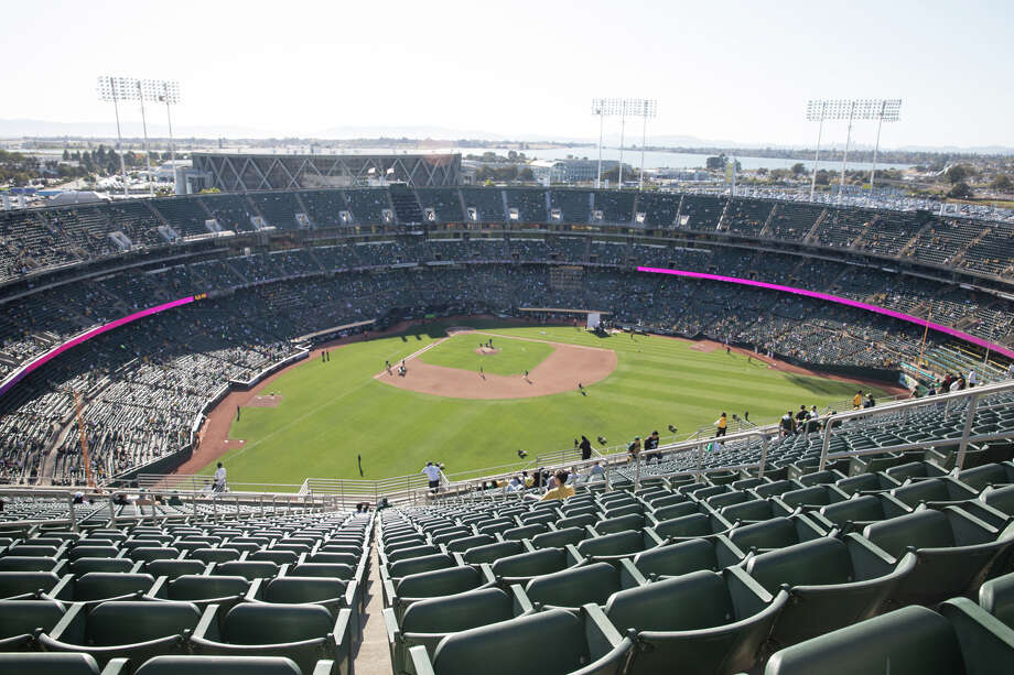 The view from Section 351, Row 32, Seat 11. It is the worst seat on Mount Davis. The Oakland A's took on the Tampa Bay Rays in the AL Wild Card Game at the RingCentral Coliseum in Oakland, California on Oct 2, 2019. Photo: Douglas Zimmerman/SFGate.com / SFGate.com