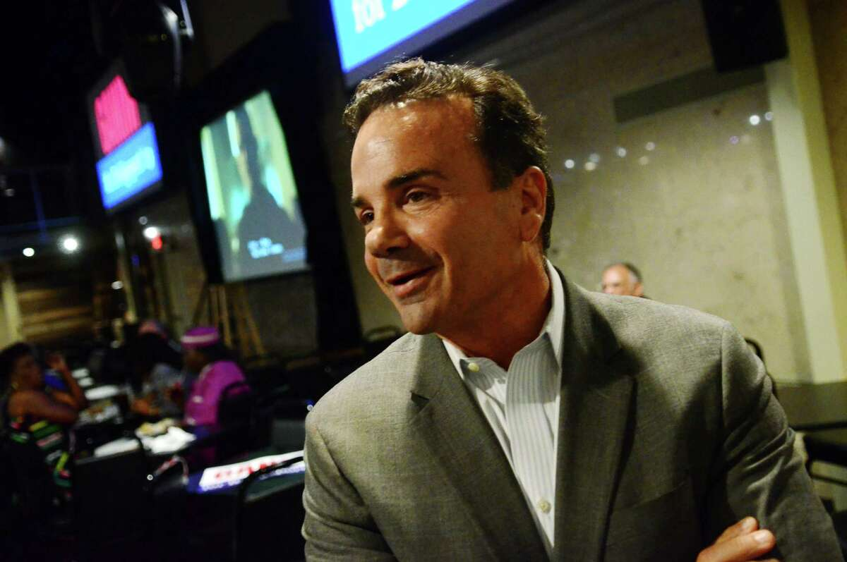 Mayor Joe Ganim holds a re-election fundraiser at the Stress Factory comedy club in Bridgeport on Oct. 2.