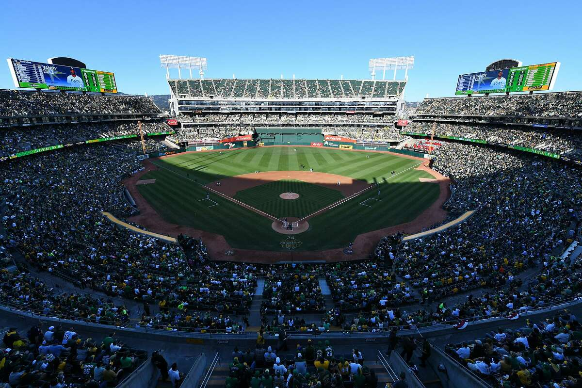 OAKLAND, CALIFORNIA - OCTOBER 02: Sean Manaea #55 of the Oakland Athletics throws the first pitch to Yandy Diaz #2 of the Tampa Bay Rays to start the American League Wild Card Game at RingCentral Coliseum on October 02, 2019 in Oakland, California. (Photo by Robert Reiners/Getty Images)