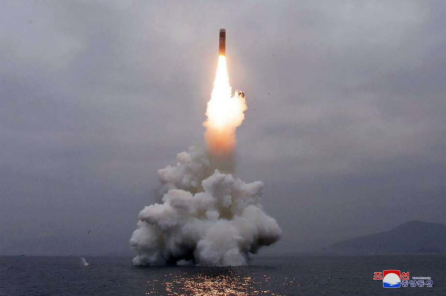 """This picture taken on the morning of October 2, 2019 and released by North Korea's official Korean Central News Agency (KCNA) on October 3, 2019 shows the test-firing of """"the new-type SLBM Pukguksong-3"""" in the waters off Wonsan Bay of the East Sea of Korea. - North Korea successfully test-fired a """"new-type"""" of submarine-launched ballistic missile, state media reported on October 3, after Washington voiced alarm at the move just days before the planned resumption of stalled nuclear talks. (Photo by KCNA VIA KNS / KCNA VIA KNS / AFP) / - South Korea OUT / ---EDITORS NOTE--- RESTRICTED TO EDITORIAL USE - MANDATORY CREDIT """"AFP PHOTO/KCNA VIA KNS"""" - NO MARKETING NO ADVERTISING CAMPAIGNS - DISTRIBUTED AS A SERVICE TO CLIENTS / THIS PICTURE WAS MADE AVAILABLE BY A THIRD PARTY. AFP CAN NOT INDEPENDENTLY VERIFY THE AUTHENTICITY, LOCATION, DATE AND CONTENT OF THIS IMAGE --- /  (Photo by KCNA VIA KNS/KCNA VIA KNS/AFP via Getty Images) Photo: Kcna Via Kns, KCNA VIA KNS/AFP Via Getty Images"""