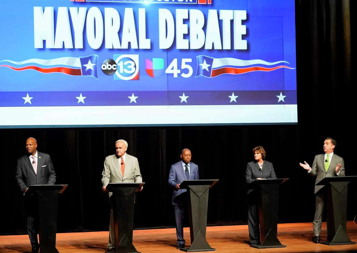 Top five Houston Mayoral candidates debate at Hobby Center on Wednesday, Oct. 2, 2019.