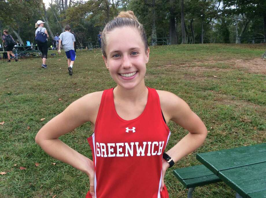 Mari Noble of Greenwich finished first in the Cardinals' cross country meet against New Canaan, Darien and Stamford on Wednesday, October 2, 2019, at Greenwich Point in Greenwich. Photo: David Fierro /Hearst Connecticut Media