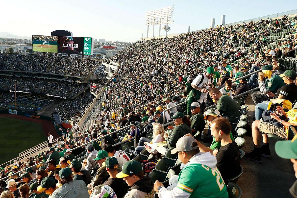Mt. Davis is full as a sell out crowd watches Oakland Athletics play Tampa Bay Rays in American League Wild Card game at Oakland Coliseum in Oakland, Calif., on Wednesday, October 2, 2019.
