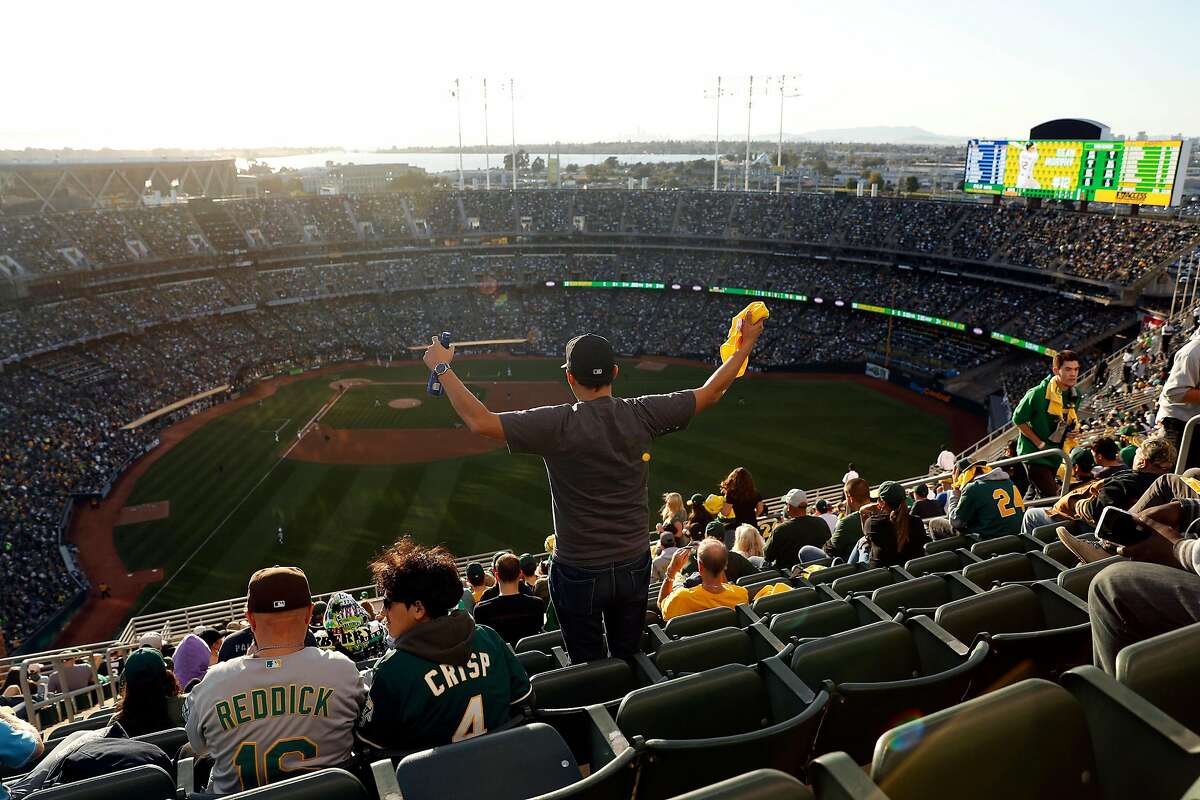 From his vantage point on Mt. Davis, Eric Francis of Santa Clara races as Oakland Athletics are retired in 2nd inning by Tampa Bay Rays in American League Wild Card game at Oakland Coliseum in Oakland, Calif., on Wednesday, October 2, 2019.
