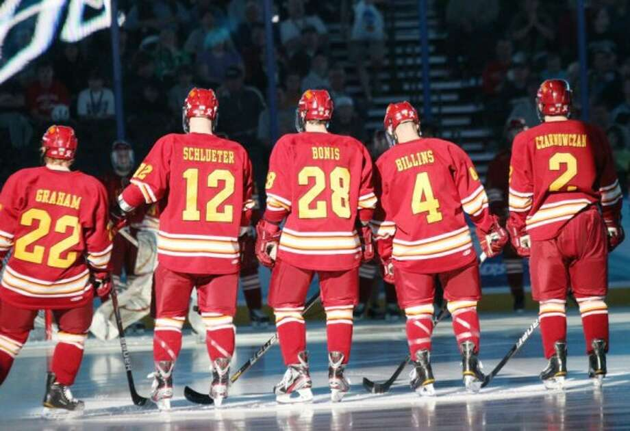 SEASON TO REMEMBER: The Ferris State hockey team finished as national runners-up after losing 4-1 to Boston College on Saturday. It was the school's first appearance on a national title game. (Pioneer photo/Matt Yeoman)