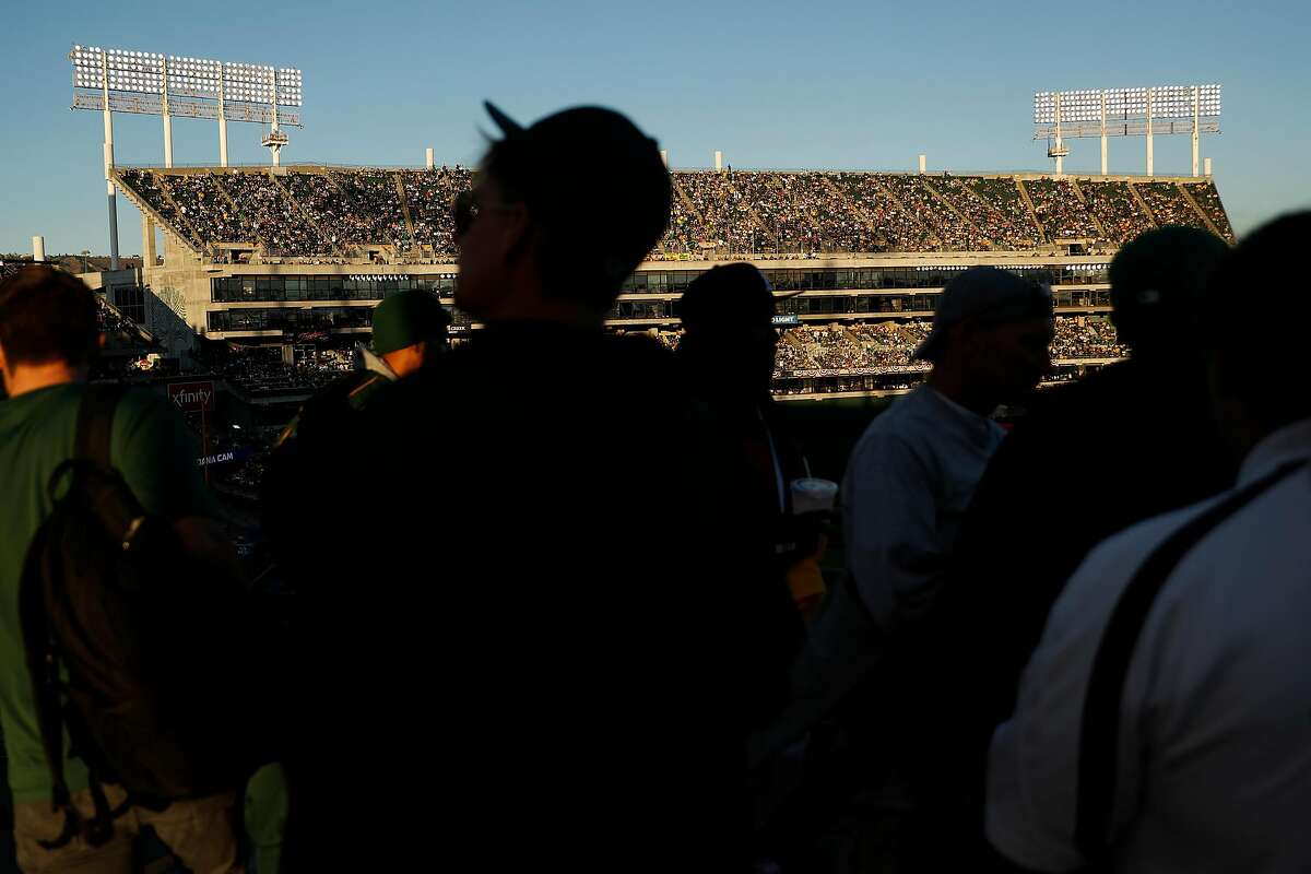 Mt. Davis is seen from the 300 level as Oakland Athletics play Tampa Bay Rays in American League Wild Card game at Oakland Coliseum in Oakland, Calif., on Wednesday, October 2, 2019.