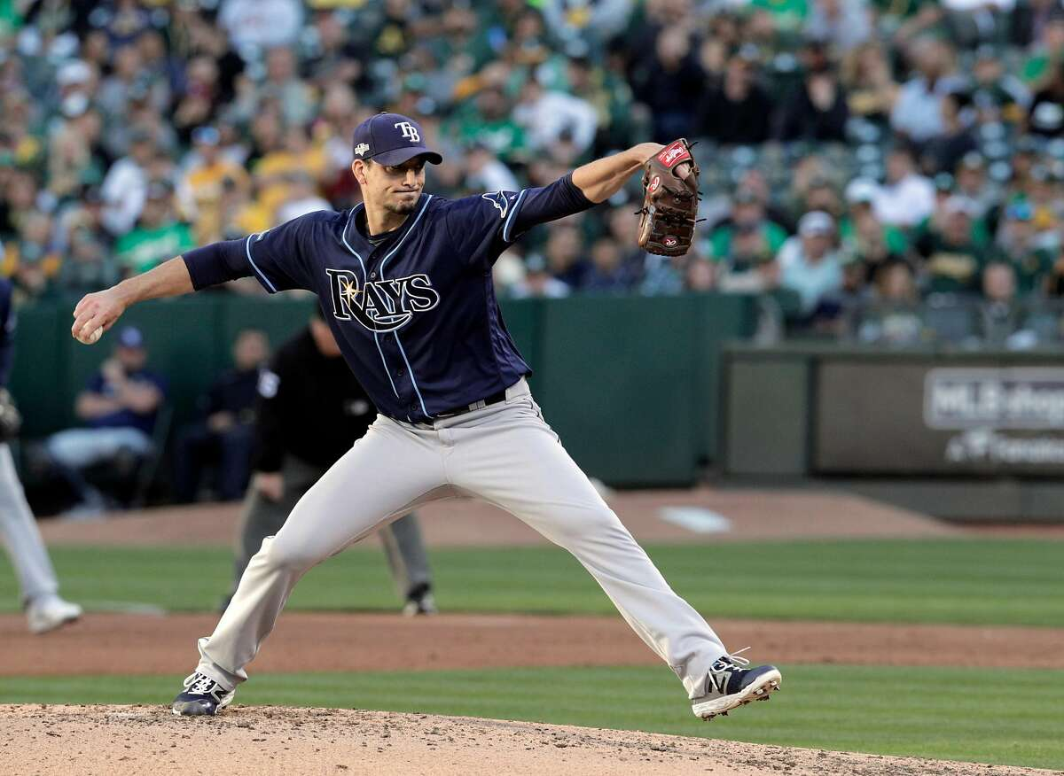 Charlie Morton (50) pitches for the Rays in the second inning as the Oakland Athletics played the Tampa Bay Rays at the Oakland Coliseum in the AL Wild Card playoff game in Oakland, Calif., on Wednesday, October 2, 2019.