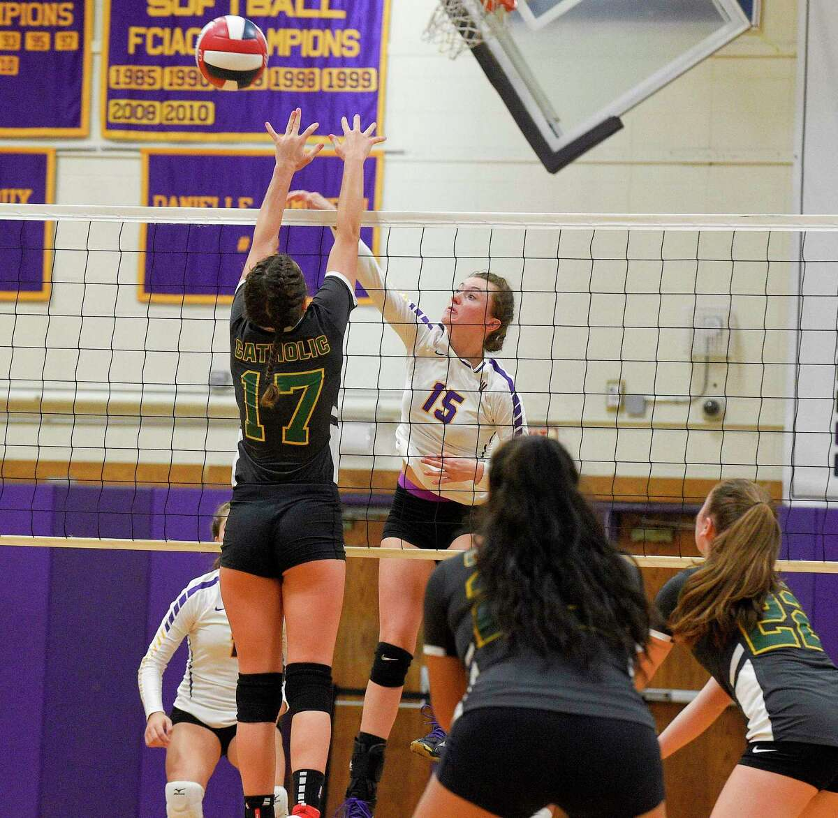 Westhill hosted Trinity Catholic in an intra-city girls volleyball match at Westhill High School on Oct. 2, 2019 in Stamford, Connecticut.
