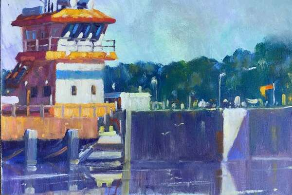 """ON THE COVER: """"Day at the Dam,"""" a plein air painting by Southern Illinois University Edwardsville, Art and Design faculty member John DenHouter. He will paint on site both days during Highland, Illinois' Art In The Park from 10 a.m. to 5 p.m. Saturday, Oct. 12, and 11 a.m. to 4 p.m. Sunday, Oct. 13, at Lindendale Park, 2005 Parkhill Drive."""