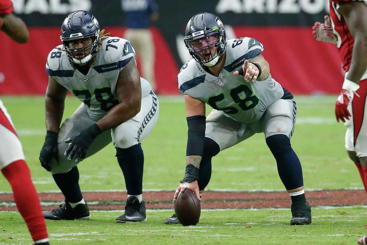 Seattle Seahawks center Justin Britt (68) during an NFL football game against the Arizona Cardinals, Sunday, Sept. 29, 2019, in Glendale, Ariz. (AP Photo/Rick Scuteri)