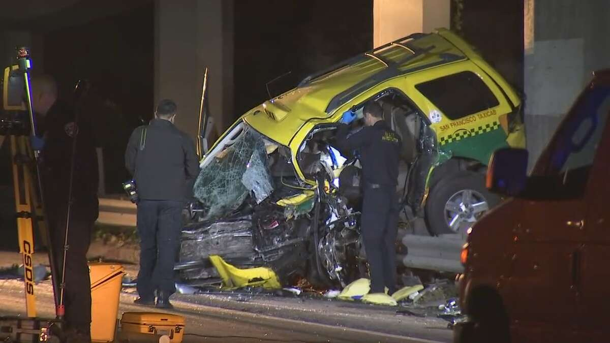 Four people were killed, when a wrong-way driver crashed into a taxi on northbound Highway 101 in San Francisco early Thursday.