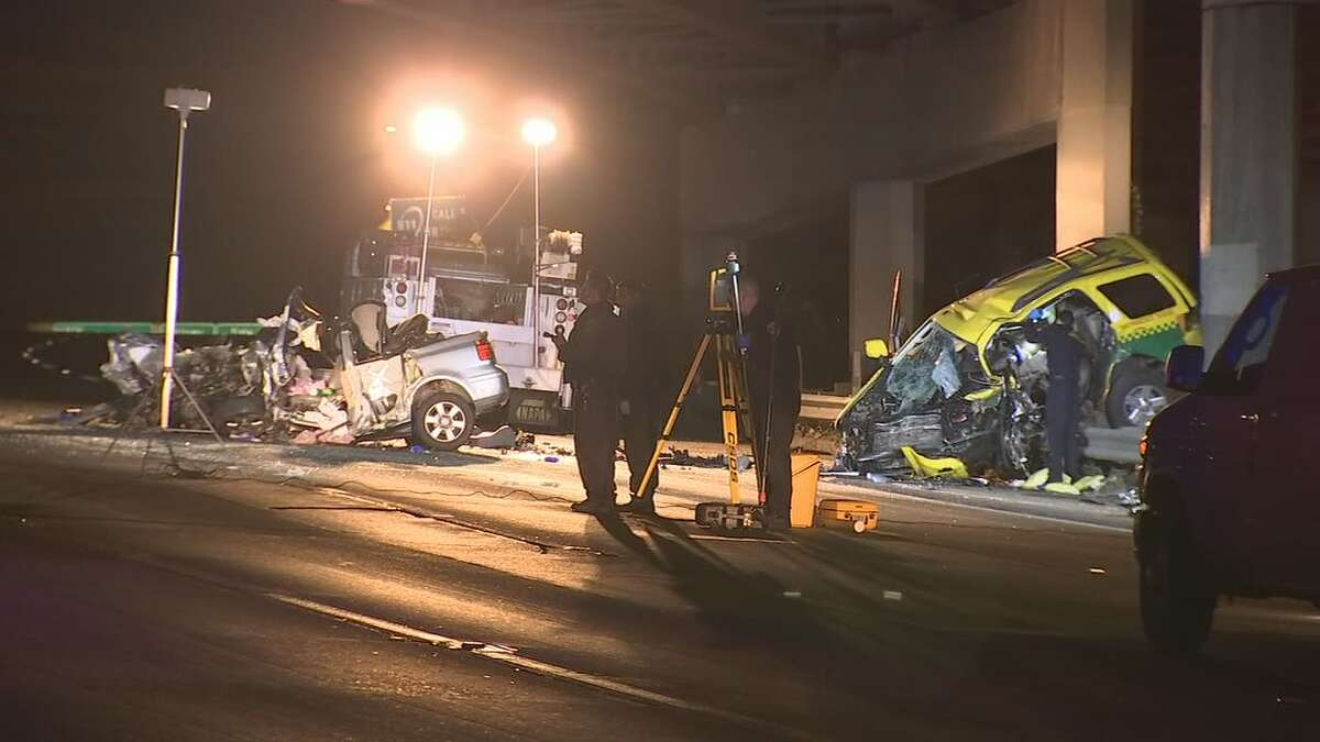 Four people were killed when a wrong-way driver crashed into a taxi on northbound Highway 101 in San Francisco early Thursday.