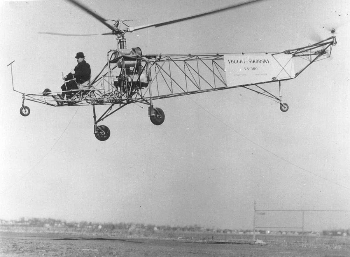 Igor Sikorsky pilots the VS-300 in Stratford, Conn., 1939.