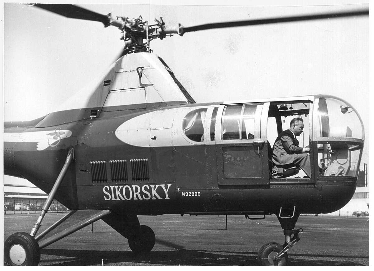 Igor Sikorsky at the controls of one his helicopters on April 19, 1953.