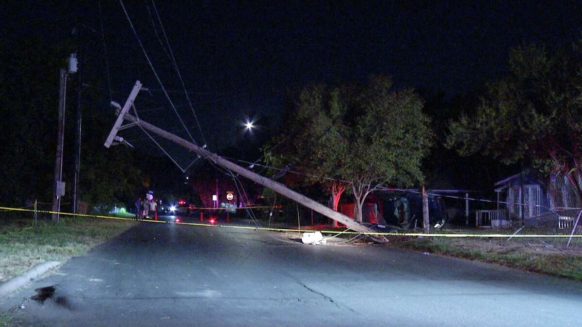 Several houses were without power after a car rolled into a utility pole.